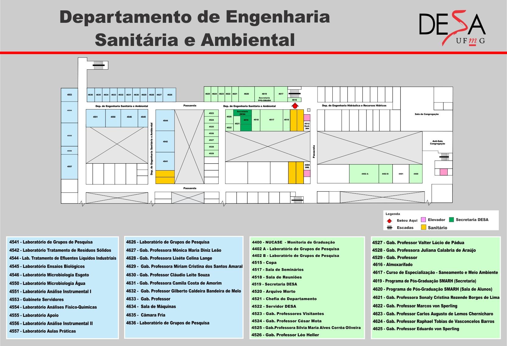 Mapa de localização do DESA